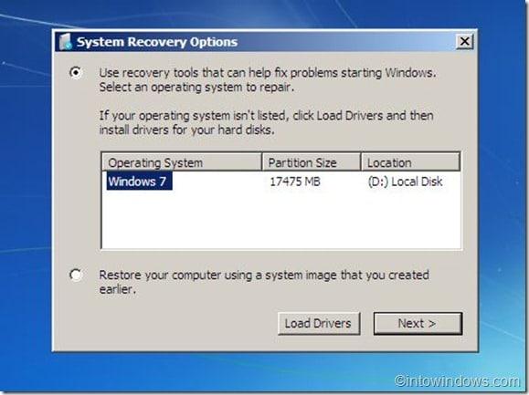 select Windows os