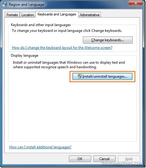 Install language in windows 7