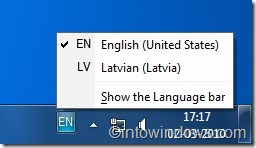 Language bar in windows 7 taskbar