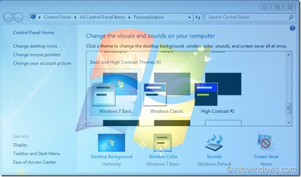 Make Windows 7 Basic Themes Transparent