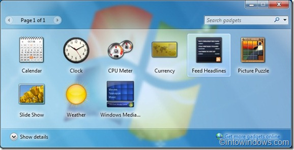 Minimize windows 7 gadgets