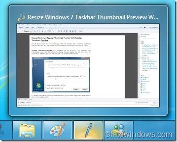 Taskbar Thumbnail Tweaker for windows 7