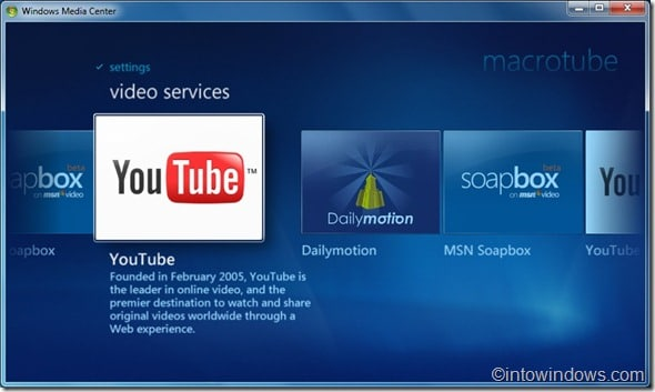 watch youtube, dailymotion video in media center