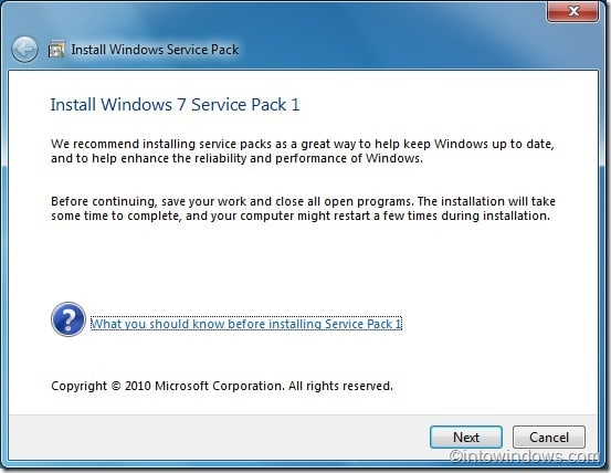 Install Windows 7 Service Pack 1