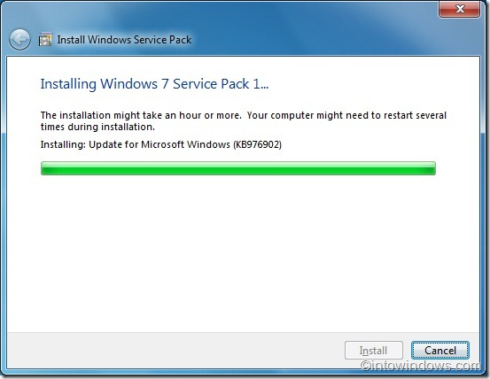 Installing Windows 7 service pack 1