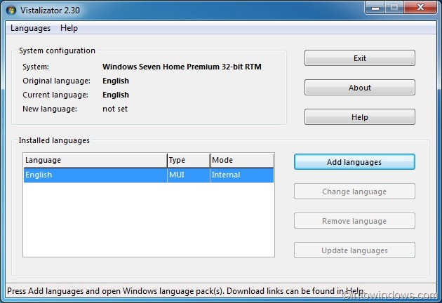 download and install language pack in Windows 7 home premium