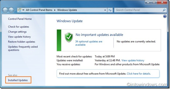 Uninstall Windows 7 SP1 update