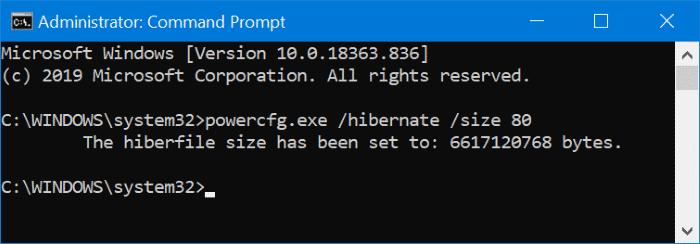 change hibernation file size in Windows 10 pic2