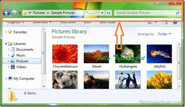 make windows borders transparent in Windows 7