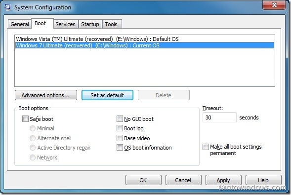 set Windows 7 as default os in boot menu