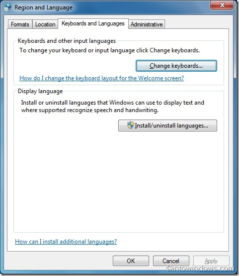 change keyboard input language windows 7