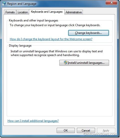 Change keyboard language in Windows 7