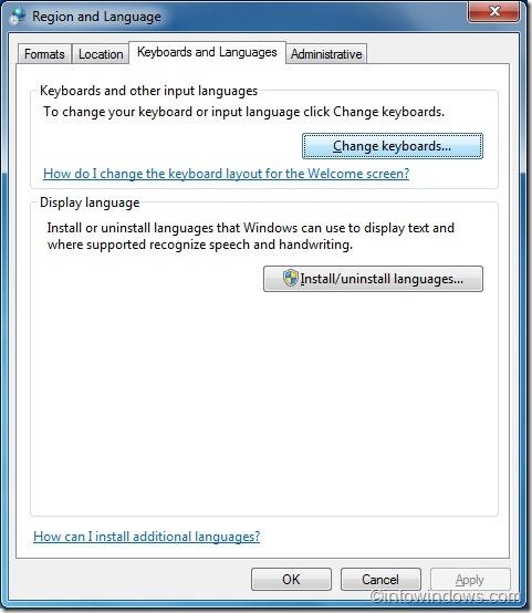 Disable language toolbar in Windows 7