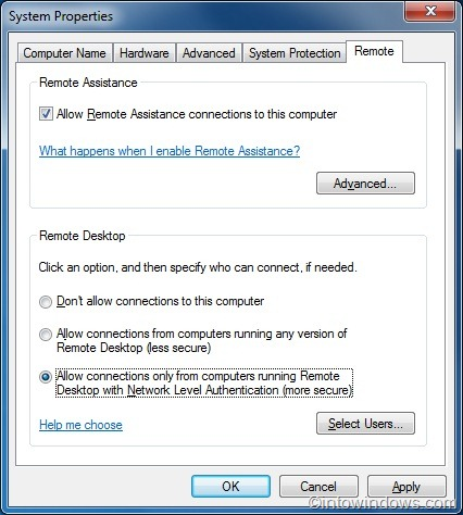 Enable remote desktop connection in windows 7 for Window remote desktop