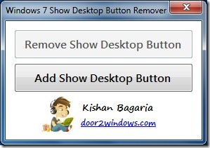 Remove Windows 7 Show Desktop Button in taskbar