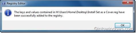 Set as folder cover option in Windows 7