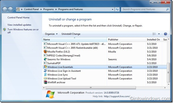 Uninstall Live Messenger In Windows 7
