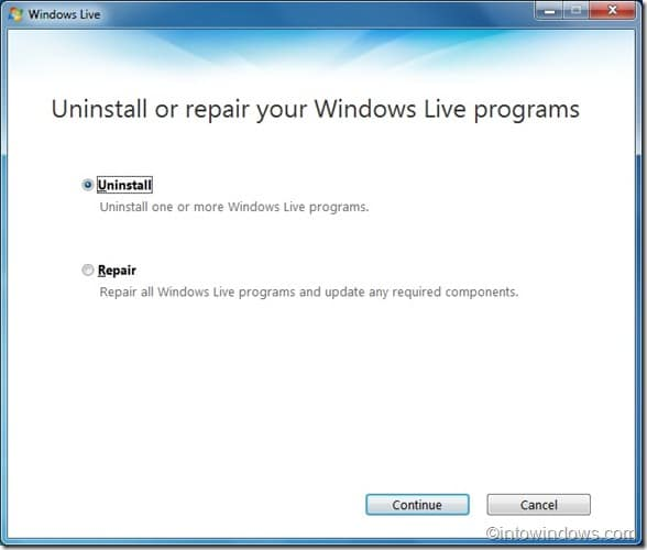 Uninstall Live Messenger In Windows 7 guide1