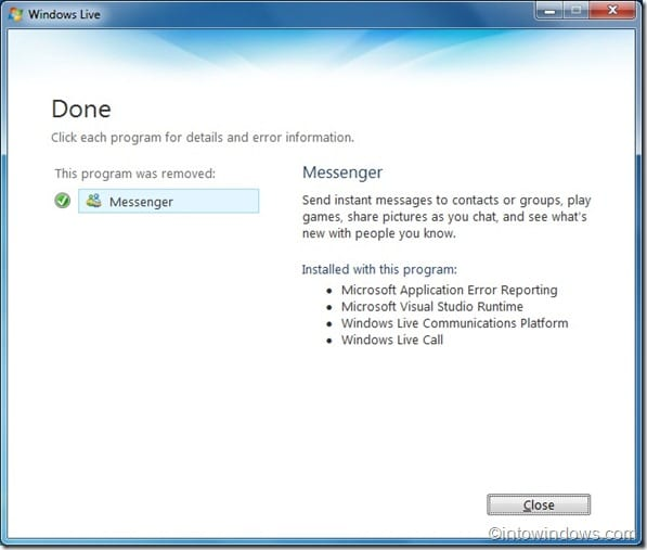 Uninstall Windows Live Messenger Windows 7