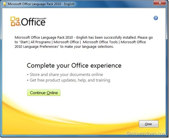 installing office 2010 language packs