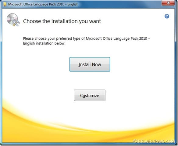 install office 2010 language pack1