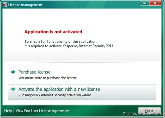Activate Kaspersky Internet Security 2011 with a key file
