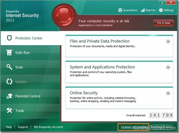 Activate Kaspersky with a key file