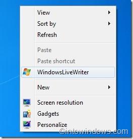 Add Programs to desktop context menu in Windows 7