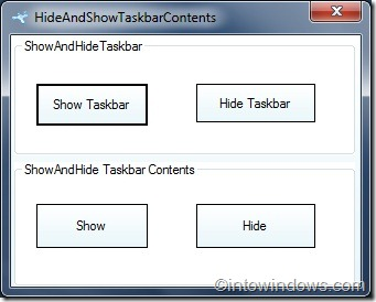 Hide Windows 7 taskbar buttons