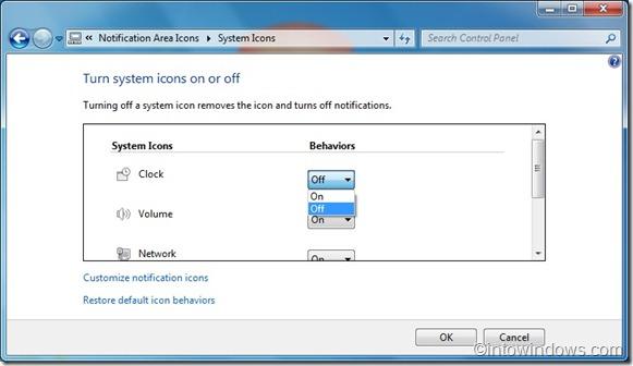 Remove Clock from windows 7 taskbar