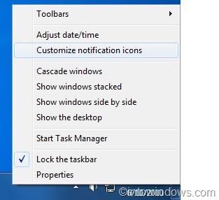hide clock from windows 7 taskbar