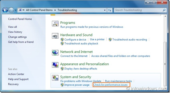 Check for performance issues in windows 7