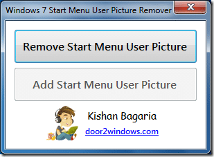 Remove User Picture From Start menu in Windows 7