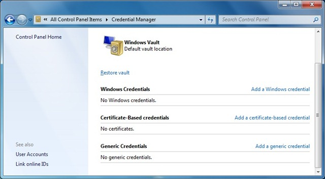 How To Use Credential Manager In Windows 7