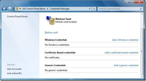 Credential manager in Windows 7