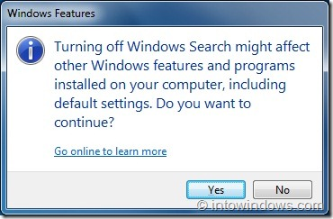 Disable Search feature in Windows 7