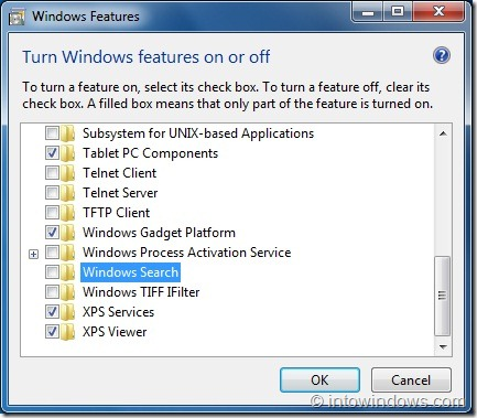 Disable Search feature in Windows 7 step5