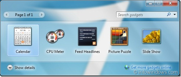How To Reinstall Uninstalled Gadgets in Windows 7
