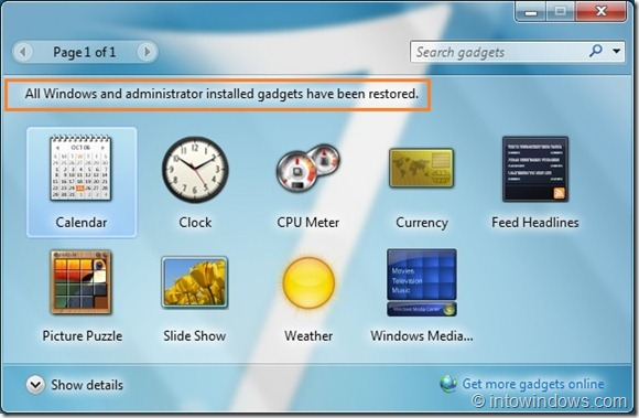 How To Reinstall Uninstalled Desktop Gadgets In Windows 7