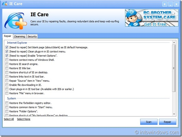 IE Care for Windows