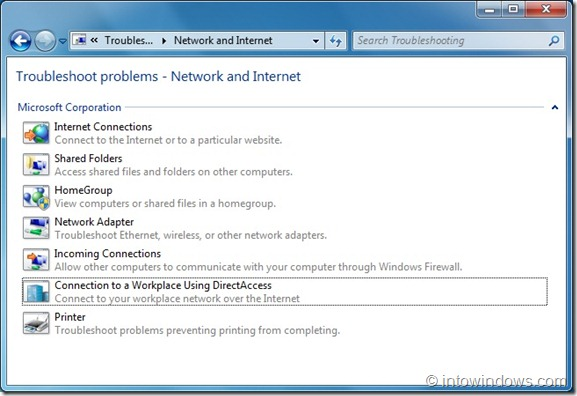 Network and Internet Troubleshooters