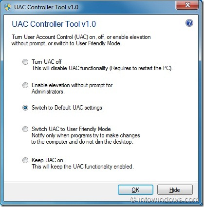 UAC Controller Tool