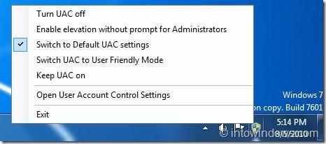 UAC Controller Tool for Windows 7