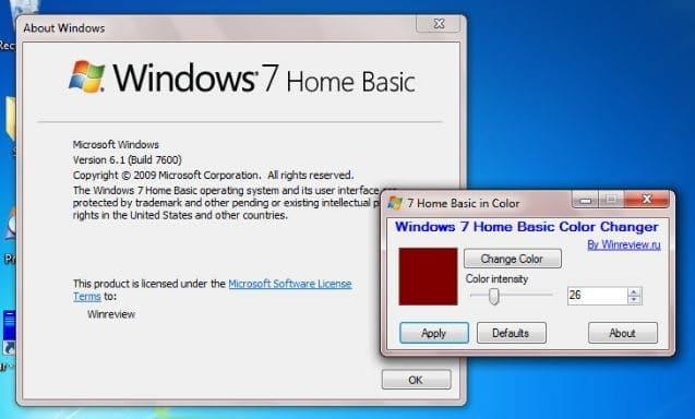 change taskbar and window borders color in windows 7 home basic edition