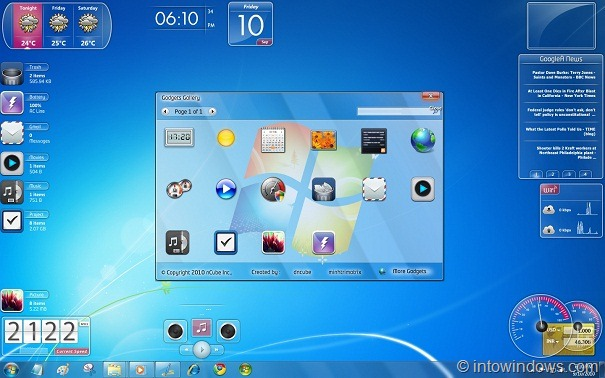 18 glass gadgets pack for windows 7