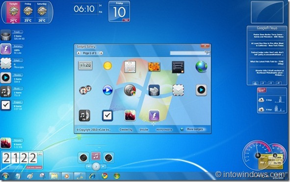 Aero Glass Gadgets Pack For Windows 7 Desktop