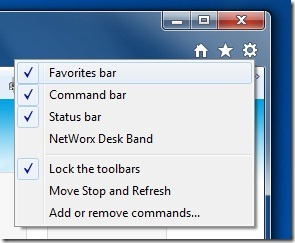 Enable Commnad and Favorites Bars In IE 9