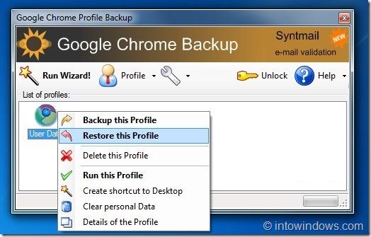 Google Chrome Backup