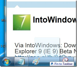Pin websties to Windows 7 taskbar using Internet Explorer 9