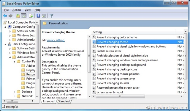 How To Prevent Users From Changing Theme In Windows 7